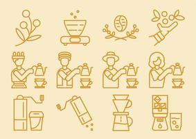 jeu d'icônes de goutteur de café