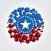 Affiche de célébration du jour de l'indépendance du 4 juillet USA avec des ballons et des étoiles vecteur