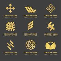 ensemble de création de logo d'entreprise dorée