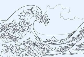 Coloriage de la grande vague de kanagawa vecteur