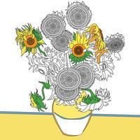 coloriage de tournesols vecteur