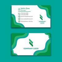 modèle de conception de carte de visite ondulée verte