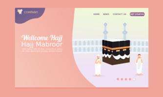 bienvenue page de destination du hajj avec des hommes priant vecteur