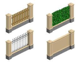 ensemble de clôtures en pierre vecteur