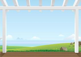 vue paysage avec collines verdoyantes vecteur