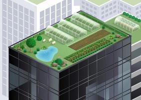 vide d'une ferme sur le toit d'un immeuble