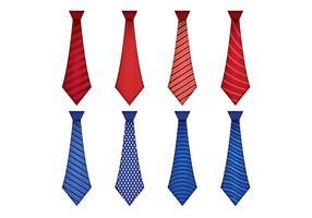 Ensemble de Cravate Cravate Cravate Bleue et Rouge vecteur