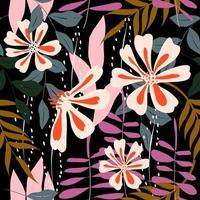 motif floral transparent coloré vecteur