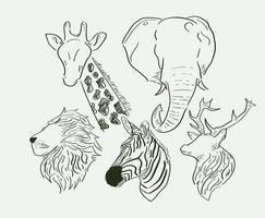 animaux sauvages dessinés à la main vecteur