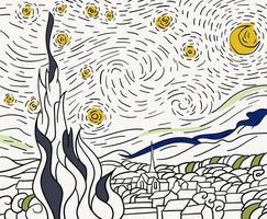 La nuit étoilée 1889 de Vincent Van Gogh - Coloriages difficiles pour adultes vecteur