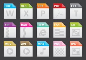 Icônes de fichiers colorés vecteur