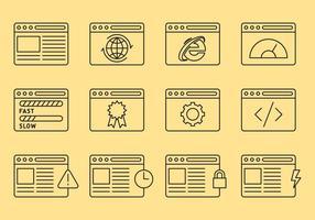 Icônes de ligne du navigateur Web vecteur