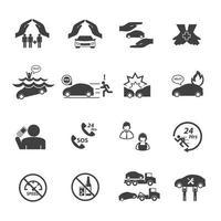ensemble d'icônes d'assurance voiture vecteur