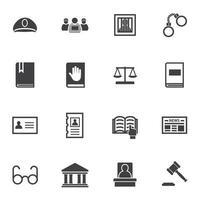 jeu d'icônes de droit pénal vecteur