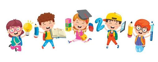 sauter les enfants tenant des fournitures scolaires vecteur