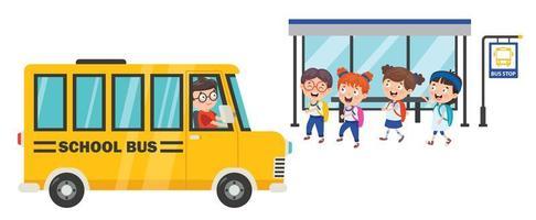 enfants attendant le bus scolaire vecteur