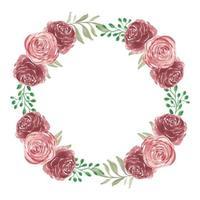 couronne de fleurs rose dans un style aquarelle vecteur