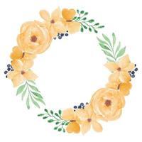 Couronne de fleur rose aquarelle jaune