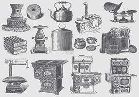 Articles de cuisine vintage vecteur