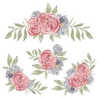 ensemble d'arrangement de fleur rose aquarelle