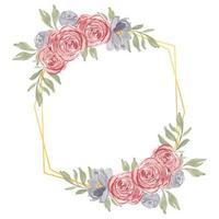 aquarelle cadre floral rose rustique peint à la main