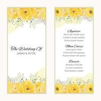 modèle de carte de menu de mariage avec des fleurs jaunes