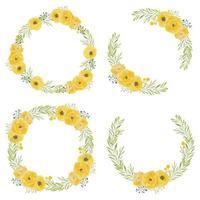 ensemble de cadres de cercle aquarelle fleur rose jaune