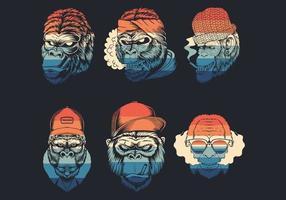 collection de logo de fumer des têtes de singe vecteur
