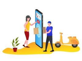 les coursiers livrent des produits en ligne aux clients