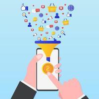 entonnoir de conversion marketing avec smartphone vecteur