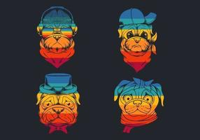 collection de logo rétro tête de chien carlin idiot
