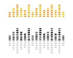 logos d'ondes sonores jaunes, noirs