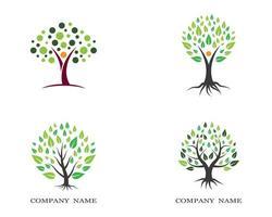 logos d'arbres feuillus verts vecteur