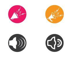 icônes de haut-parleur cercle multicolore vecteur