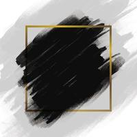 coup de pinceau noir avec cadre doré vecteur