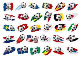 ballon de soccer avec des drapeaux nationaux dans le style de trait de peinture vecteur