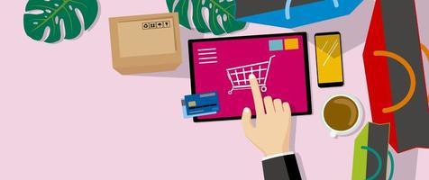 vue de dessus des achats en ligne sur tablette