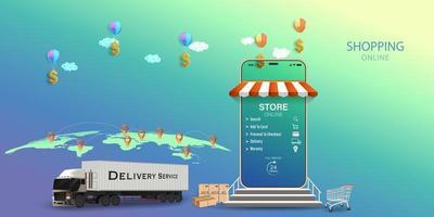 Commande de service de livraison de camions porte-conteneurs sur concept mobile vecteur