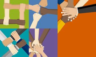 groupes, gens, mettre leurs mains ensemble