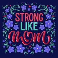 fort comme la typographie et les fleurs de maman vecteur