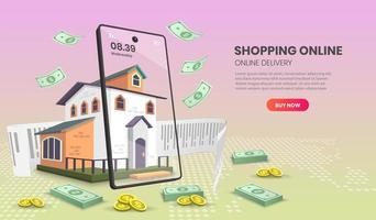 Page de destination de shopping mobile avec de l'argent tombant sur la maison