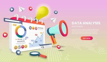 page de destination d'analyse de données avec mégaphone et graphique vecteur