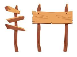 ensemble de signe de pointeur en bois