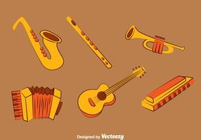 Ensemble de jeu d'instruments de musique dessiné à la main vecteur