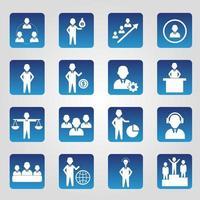 ensemble d'icônes de ressources humaines carré bleu
