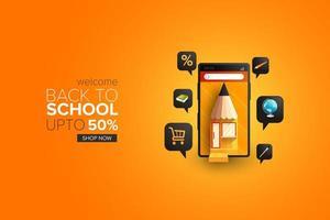retour à l'école vente en ligne page de destination des achats vecteur