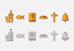 Ensemble vectoriel d'icônes de communion