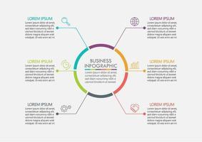 modèle infographique de cercle de ligne brisée colorée