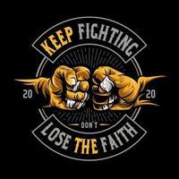 poings cogner '' continuer à se battre '' vecteur