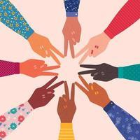 joindre les mains en forme d'étoile avec leurs doigts